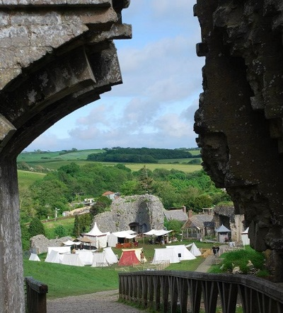 An encampment at Corfe Castle